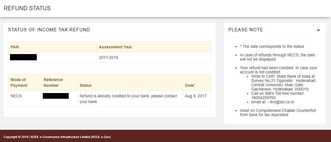 Income Tax Refund Status Check