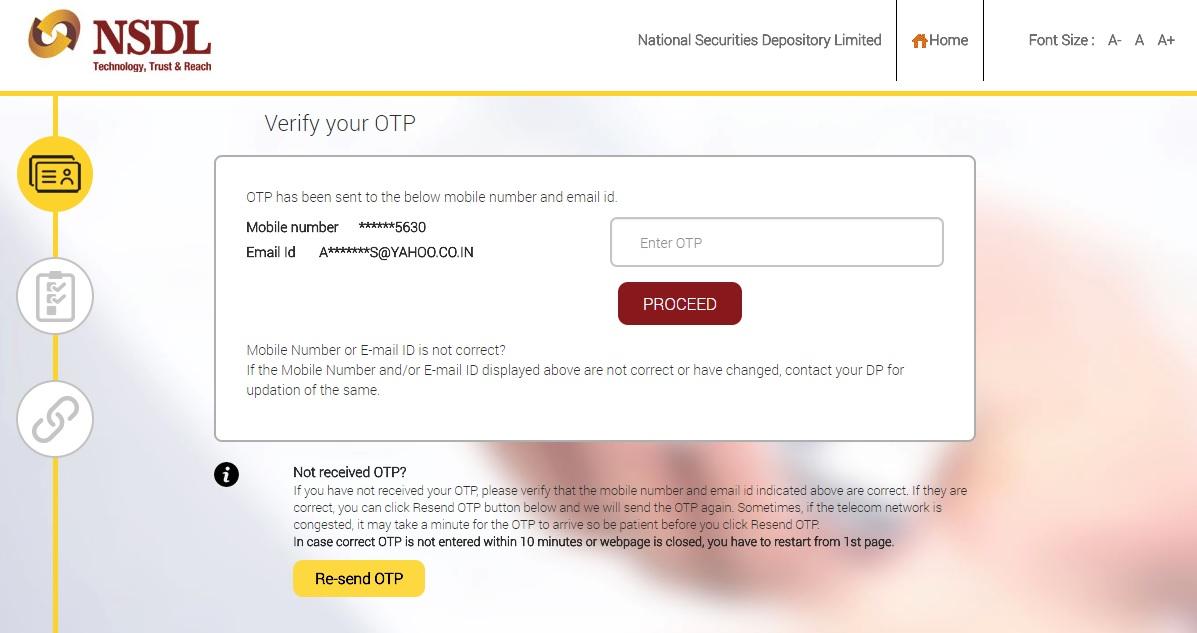demat aadhaar link verification code